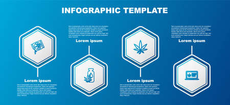 Set line Marijuana or cannabis seeds, leaf oil, and Online buying marijuana. Business infographic template. Vector
