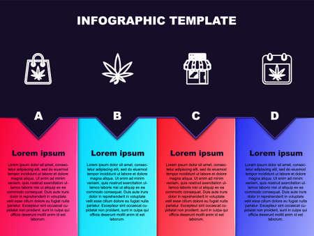 Set line Shopping bag of marijuana, Marijuana or cannabis leaf, and store and Calendar. Business infographic template. Vector