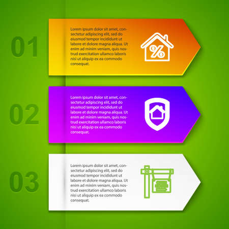 Set line House with percent, under protection, Hanging sign Open house. Business infographic template. Vector