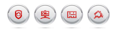 Set line House under protection, Hanging sign with For Sale, plan and Rising cost of housing. Silver circle button. Vector