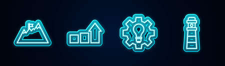 Set line Mountains with flag, Financial growth, Light bulb and gear and Lighthouse. Glowing neon icon. Vector