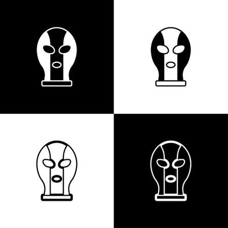 Set Mexican wrestler icon isolated on black and white background. Vector.