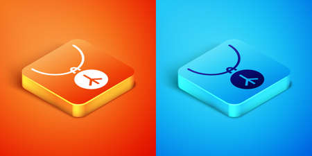 Isometric Necklace with peace symbol icon isolated on orange and blue background. Hippie symbol of peace. Vector