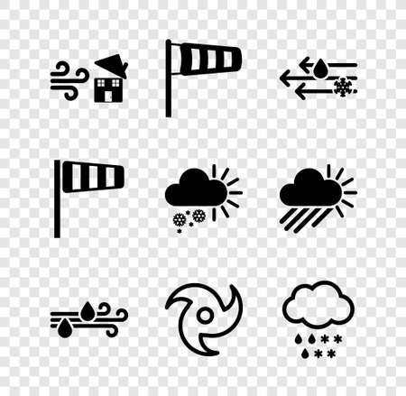 Set Tornado swirl, Cone meteorology windsock wind vane, Wind and rain with snow, Cloud, and Cloudy icon. Vector