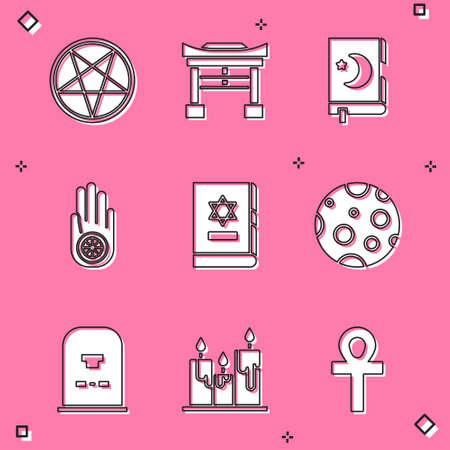 Set Pentagram in a circle, Japan Gate, Holy book of Koran, Jainism Jain Dharma, Jewish torah, Moon, Tombstone with RIP written and Burning candles icon. Vector Vektorové ilustrace