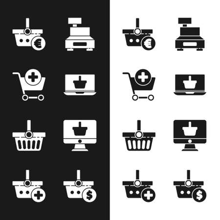 Set Shopping basket on laptop, Add cart, and euro, Cash register machine, Monitor with shopping, dollar and icon. Vector Stock Illustratie