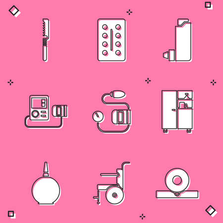Set Medical saw Pills in blister pack Inhaler Blood pressure Medicine cabinet Enema and Wheelchair for disabled person icon. Vector.