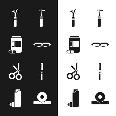 Set Safety goggle glasses, Medicine bottle and pills, Medical otoscope tool, Tooth drill, scissors, saw, Otolaryngological head reflector and Inhaler icon. Vector Stock Illustratie
