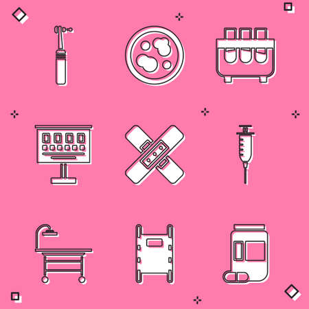 Set Tooth drill, Petri dish with bacteria, Test tube and flask, Eye test chart, Crossed bandage plaster, Syringe, Operating table and Stretcher icon. Vector