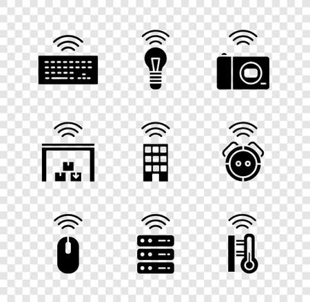 Set Wireless keyboard, Smart light bulb, photo camera, mouse, server, thermometer, warehouse and home with wireless icon. Vector Stock Illustratie
