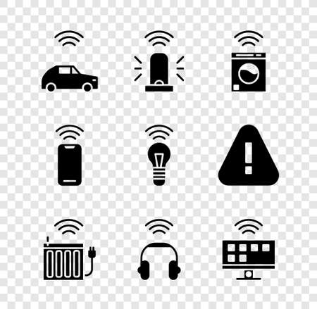 Set Smart car system with wireless, flasher siren, washer, heating radiator, headphones, Tv, Wireless smartphone and light bulb icon. Vector Stock Illustratie