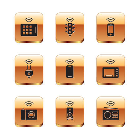 Set Wireless tablet, Smart photo camera, stereo speaker, smartphone, electric plug, radio and traffic light icon. Vector