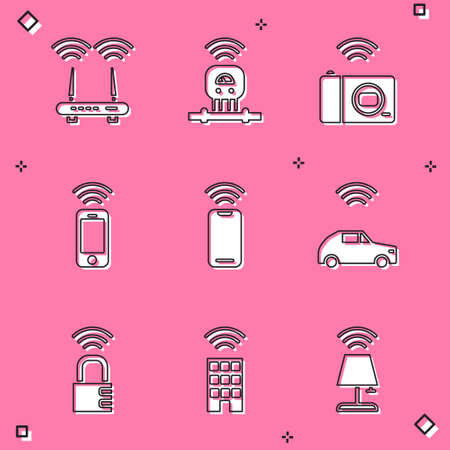 Set Router and wifi signal, Smart sensor, photo camera, Wireless smartphone, car system with wireless, safe combination lock and home icon. Vector Stock Illustratie
