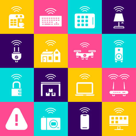 Set Smart Tv system, Router and wifi signal, stereo speaker, Wireless tablet, home with wireless, electric plug, coffee machine and drone icon. Vector Stock Illustratie