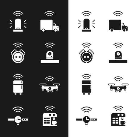 Set Smart security camera, Robot vacuum cleaner, flasher siren, truck, refrigerator, drone, coffee machine and Smartwatch icon. Vector Stock Illustratie