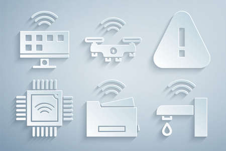 Set Smart printer, Exclamation mark triangle, Processor with microcircuits CPU, water tap, drone and Tv system icon. Vector Stock Illustratie