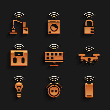 Set Smart Tv system, Robot vacuum cleaner, Wireless smartphone, drone, light bulb, bathroom scales, safe combination lock and Robotic robot arm hand factory icon. Vector Stock Illustratie