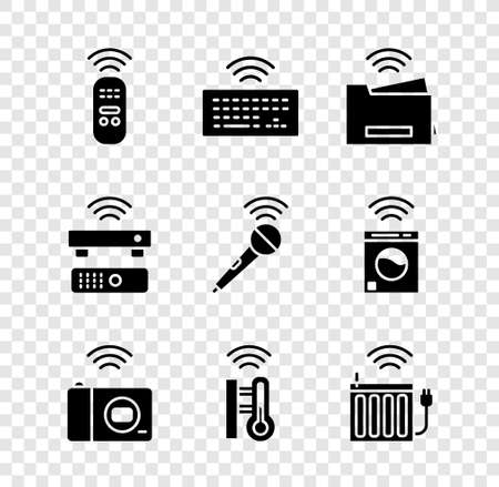 Set Smart remote control, Wireless keyboard, printer, photo camera, thermometer, heating radiator, TV box receiver and microphone icon. Vector