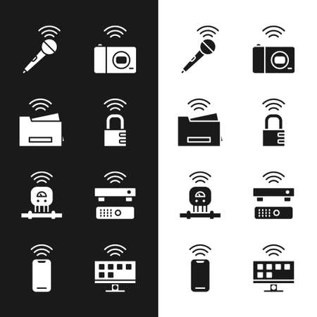 Set Smart safe combination lock, printer, Wireless microphone, photo camera, sensor, TV box receiver, Tv system and smartphone icon. Vector