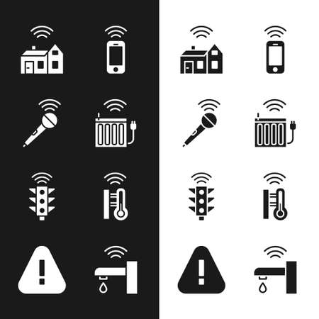Set Smart heating radiator, Wireless microphone, home with wireless, smartphone, traffic light, thermometer, water tap and Exclamation mark triangle icon. Vector Stock Illustratie