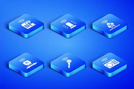 Set Smart radio, coffee machine, Wireless microphone, sensor, flasher siren and antenna icon. Vector Stock Illustratie