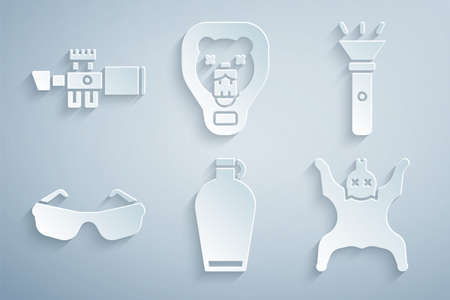 Set Canteen water bottle, Flashlight, Glasses, Bear skin, head on shield and Sniper optical sight icon. Vector