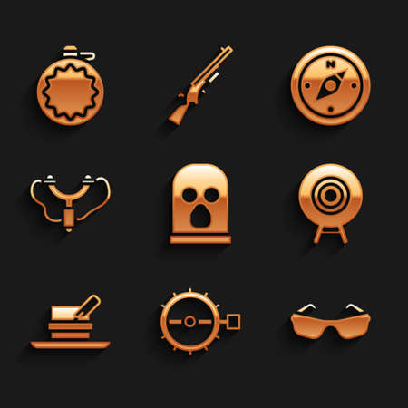 Set Balaclava, Trap hunting, Glasses, Target sport, Hunter hat with feather, Slingshot, Compass and Canteen water bottle icon. Vector