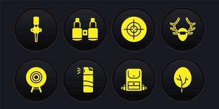 Set Target sport, Deer antlers on shield, Pepper spray, Hiking backpack, Binoculars, Tree and Torch flame icon. Vector