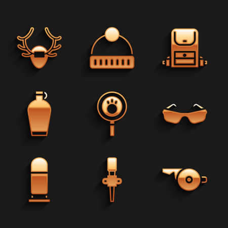Set Paw search, Torch flame, Whistle, Glasses, Bullet, Canteen water bottle, Hiking backpack and Deer antlers on shield icon. Vector