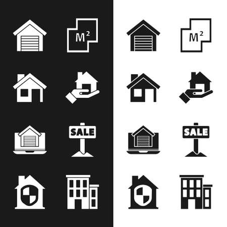 Set  House, Garage, plan, Online real estate house, Hanging sign with Sale, and under protection icon. Vector Stock Illustratie
