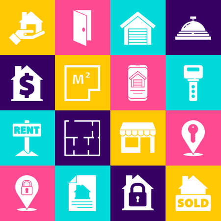 Set Hanging sign with text Sold, Location key, House, Garage, plan, dollar symbol, and Online real estate house icon. Vector