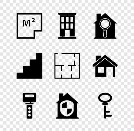 Set House plan, Search house, key, under protection, Staircase icon. Vector Stock Illustratie