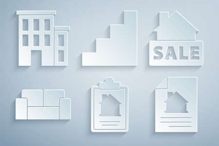 Set House contract, Hanging sign with Sale, Sofa, Staircase icon. Vector Stock Illustratie