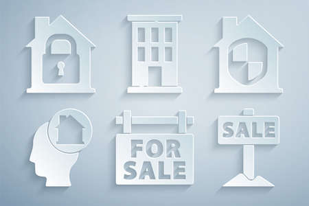 Set Hanging sign with For Sale, House under protection, Man dreaming about buying house, and icon. Vector