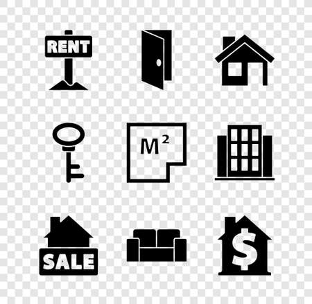 Set Hanging sign with Rent, Closed door, House, Sale, Sofa, dollar symbol, key and plan icon. Vector