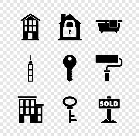Set House, under protection, Bathtub, key, Hanging sign with text Sold, Skyscraper and icon. Vector