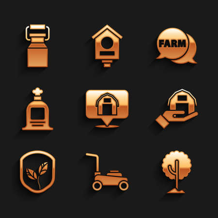 Set Location farm house, Lawn mower, Tree, Farm in hand, Shield with leaf, Full sack, Speech bubble and Can container for milk icon. Vector