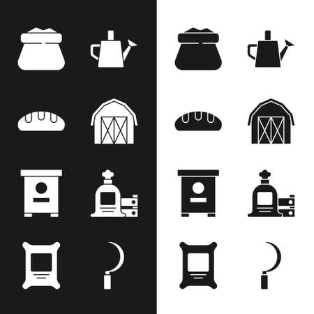 Set Farm house, Bread loaf, Full sack, Watering can, Hive for bees, and wooden box, Sickle and Fertilizer bag icon. Vector
