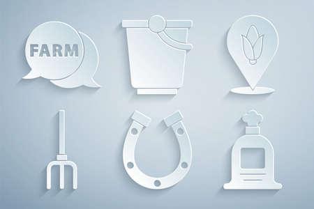 Set Horseshoe, Location corn, Garden pitchfork, Full sack, Bucket and Speech bubble with Farm icon. Vector