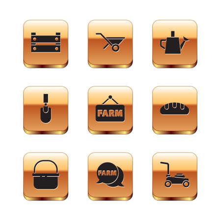 Set Wooden box, Basket, Speech bubble with Farm, Signboard text, Garden trowel spade or shovel, Watering can, Lawn mower and Wheelbarrow icon. Vector Stock Illustratie