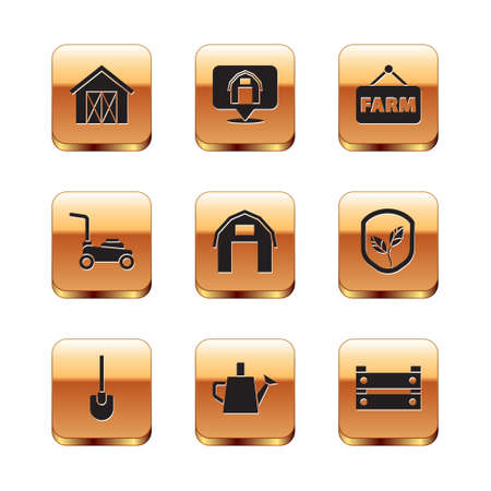 Set Farm house, Shovel, Watering can, Lawn mower, Signboard with text, Wooden box and Location farm icon. Vector