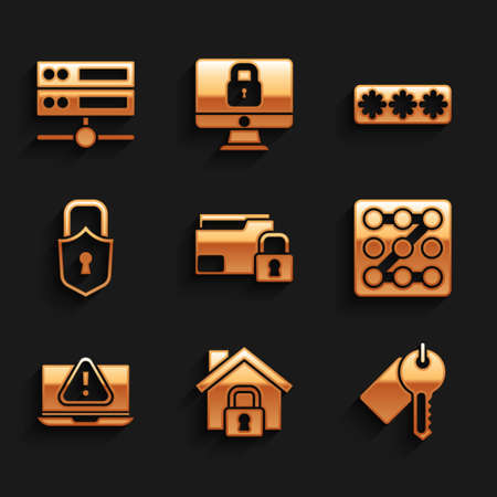 Set Folder and lock, House under protection, Marked key, Graphic password, Laptop with exclamation mark, Lock, Password and Server, Data, Web Hosting icon. Vector
