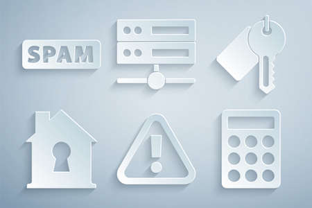 Set Exclamation mark in triangle, Marked key, House under protection, Password, Server, Data, Web Hosting and Spam icon. Vector Stock Illustratie