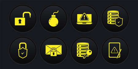 Set Lock and check mark, Server with shield, Mail message lock password, security key, Laptop exclamation, Bomb ready explode, Tablet and Open padlock icon. Vector