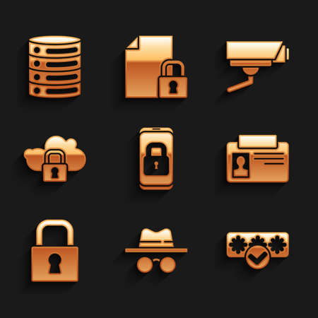 Set Mobile with closed padlock, Incognito mode, Password protection, Identification badge, Lock, Cloud computing, Security camera and Server, Data, Web Hosting icon. Vector