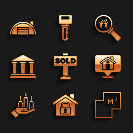 Set Hanging sign with text Sold, House under protection, plan, Location house, Skyscraper, Museum building, Search and Warehouse icon. Vector Vettoriali