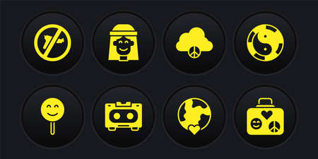 Set Smile face, Yin Yang symbol, Retro audio cassette tape, The heart world - love, Peace cloud, Hippie girl, Suitcase for travel and No war icon. Vector