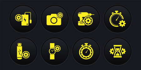 Set USB flash drive setting, Time management, Wrist watch,  Drill machine and Photo camera icon. Vector 일러스트