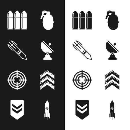 Set Radar, Nuclear rocket, Bullet, Hand grenade, Target sport, Military rank, Biohazard and Chevron icon. Vector 일러스트
