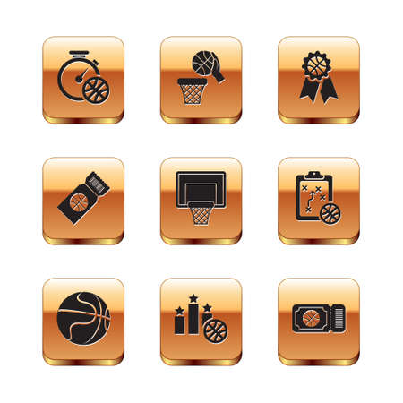 Set Stopwatch with basketball ball, Basketball, Sports winner podium, backboard, game ticket, award, and and icon. Vector